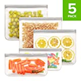 Envirogen Reusable Storage Bags - EXTRA THICK 5 Pack (3 Reusable Sandwich Bags, 2 Reusable Snack Bags), Freezer Resealable Bags, FDA Grade Lunch Bags Leakproof Food Storage Bags