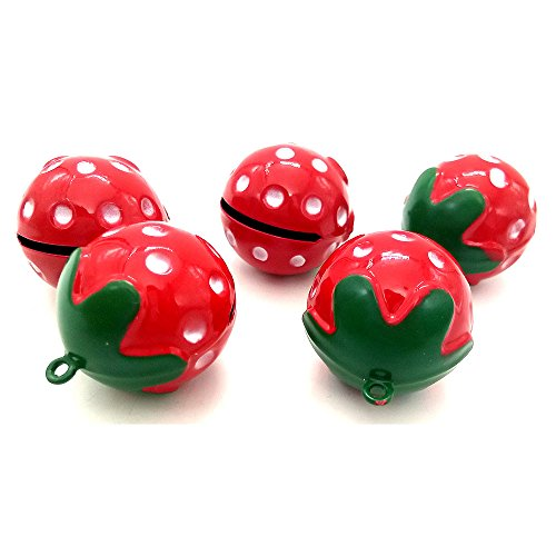 Sport Art 5 pcs DIY pet bells Mini Red Strawberry Shaped Collar Decorative Round Bell for Dog Cat Pet Strawberry necklace Loudly Sound sweet, loud, no (Strawberry Bell)