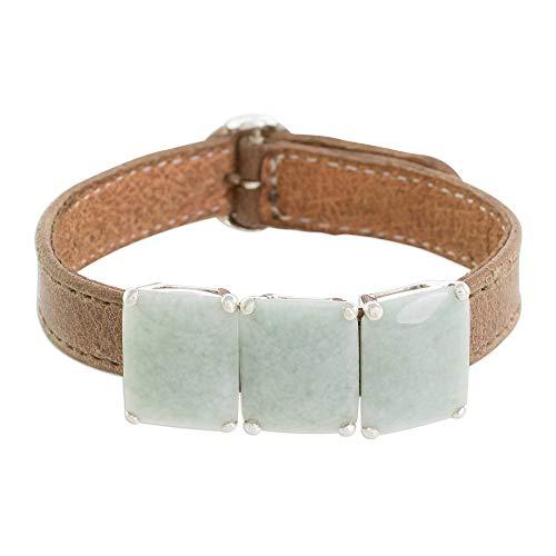NOVICA Jade .925 Sterling Silver Leather Pendant Bracelet, 7