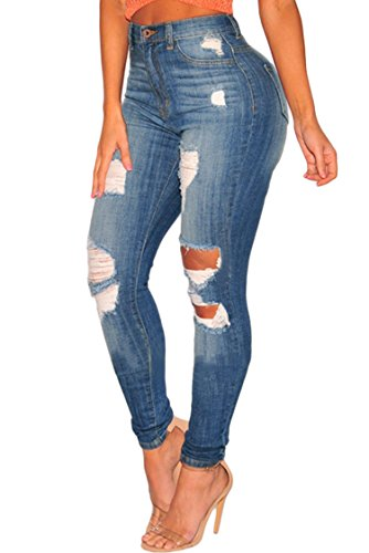 Jeans Zip Denim Back (Sidefeel Women Wash Hight Waist Distressed Ripped Denim Skinny Jeans Large Blue)
