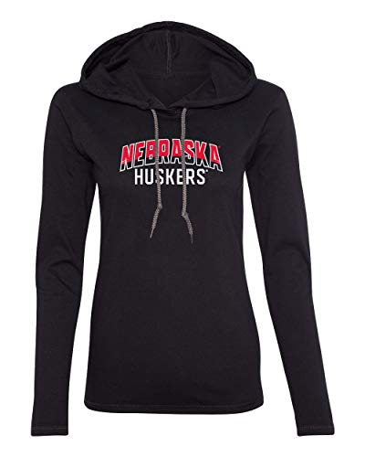 CornBorn Nebraska Tee Shirt - Women's Long Sleeve Hooded Nebraska Arch Huskers - Black - Large ()