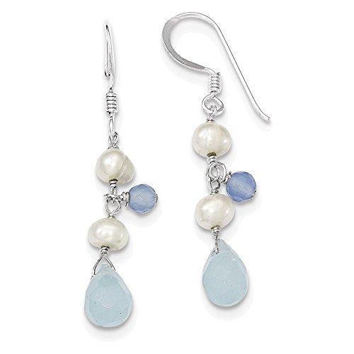 Silver Italian Agate - Sterling Silver Blue Topaz/Blue Agate/FW Cultured Pearl Earrings