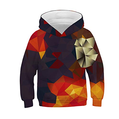 NEWCOSPLAY Unisex Kids Hooded Realistic 3D Diamond Digital Print Sweatshirt Baseball Jersey for Boys Girls