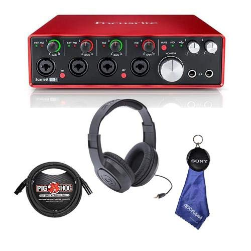 Focusrite Scarlett 18i8 USB 2.0 Audio Interface, 2nd Generation - Bundle with Samson SR350 Over-Ear Stereo Headphones, 10' 8mm XLR Microphone Cable, Fiber Optic Cleaning Cloth