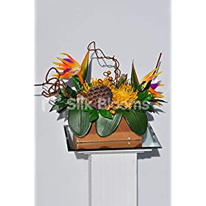 Silk Blooms Ltd Artificial Faux Orange Bird of Paradise and Lotus Pod Arrangement w/Protea and Foliage 108