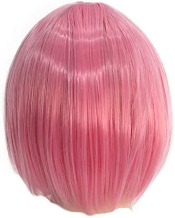 TIREOW Mädchen Frauen Perücke Rosa Schöne Tägliche Perücke Haar Perücken Haar Wave Kurze Perücken Karneval Cosplay Party 30cm