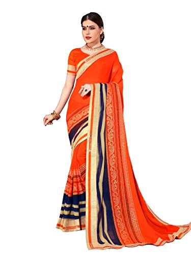 ELINA FASHION Saree For Women Orange Royal Chiffon Foil Print Embroidery (Embroidery Sari Saree)
