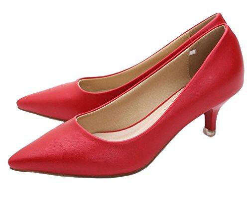 WUIWUIYU Women's Girls' Fashion Pointed Toe Kitten Heel Pump Shoes Red BqDhNMqf