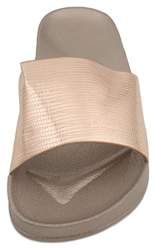 Pool Slide Flop Sandrocks Ladies Flip Rose Gold Sandal Metallic qtqEBar