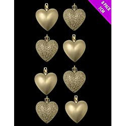 8 x 5cm CHAMPAGNE GOLD Glitter + Matt Heart Shaped Christmas Tree Baubles
