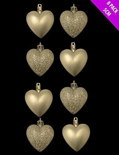 8 x 5cm CHAMPAGNE GOLD Glitter + Matt Heart Shaped Christmas Tree Baubles by Christmas Shop -