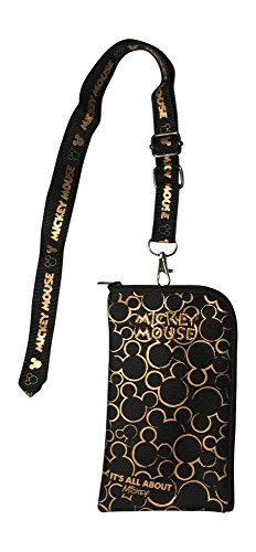 Disney Mickey Mouse Black & Gold Lanyard with Detachable Coin Purse (Gold)