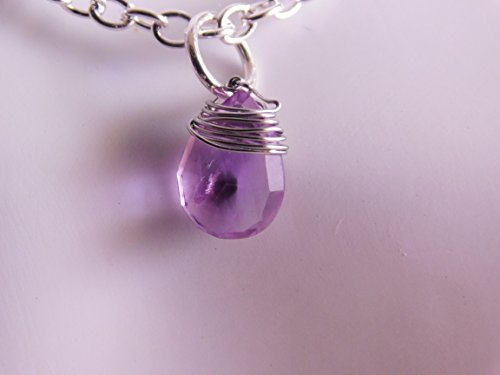 Amethyst Pear Cut Necklace * Amethyst Briolette * February Amethyst * Dangle Necklace * Wire Wrapped * Amethyst Necklace * Drop Necklace ()