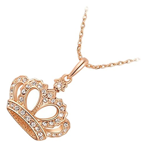 - GWG 18K Gold Plated Queen Crown Adorned with Diamond Clear Crystals Pendant Necklace for Women