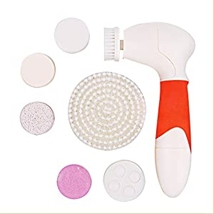 Top Power Cleanser | Multiuse 8pcs Pink Battery Powered Face Cleaning Set with Pumice Stone and 6 Brush Heads | Safe Durable Waterproof ABS for All Skin Type Exfoliation Massage Dirt Removal | 1362