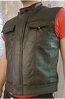 Veste gilet sans manches en cuir homme