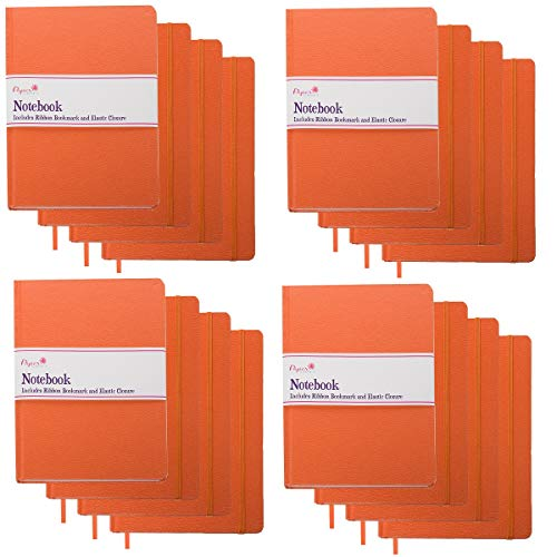 Paper Craft (16 Pack) 140pg 8.5 x 5.5 Leatherette Lined Writing Journals Wide Ruled Banded Notebook with Ribbon Bookmark, Orange, (a5 Size)