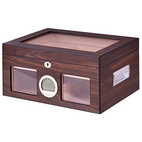 Humidor Storage Box Desktop Glasstop Humidifier Hygrometer Lockable 50-75 - Glasses Scratched Fixing