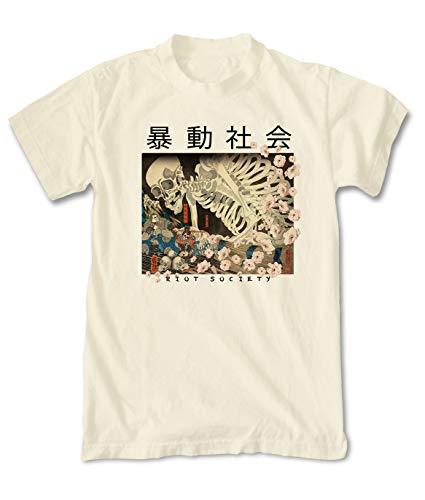 (Riot Society Skeleton Japan Mens T-Shirt - Cream, Medium )