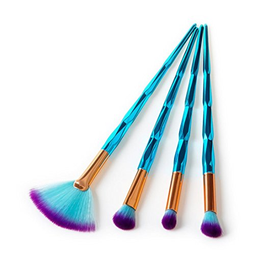 Han Shi 4Pcs Brush Sets Diamond Cosmetic Eyebrow Eyeshadow Makeup Kits Tools (Blue, L)