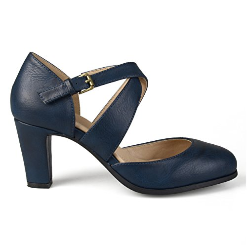 Brinley Co. Womens Faux Leather Cross Strap Comfort Sole Pumps Navy