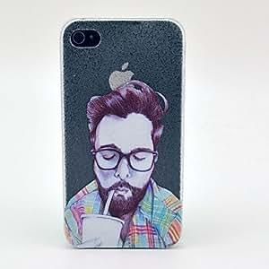 ZMY Hombre maduro con el patrón de los vidrios tapa dura para el iPhone 4/4S