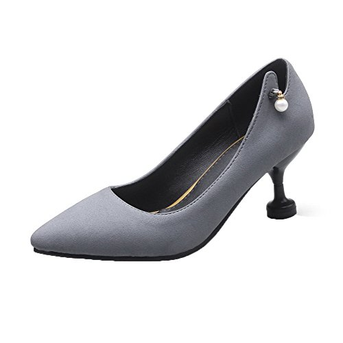 Shoes Pumps On Frosted 43 Heels Closed WeiPoot Toe Women's Gray Pull Kitten Solid gA4nnpfwxq