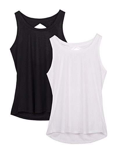 2 Pack icyzone Yoga Tops Activewear Workout Clothes Open Back Fitness Tank Tops for Women