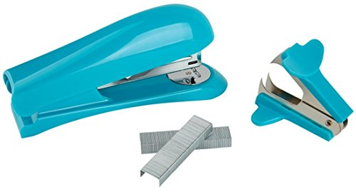 Office Depot Brand Half-Strip Stapler With Staples And Remover (Aqua)