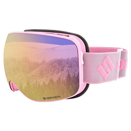 (SH HORVATH Ski Goggles for Women & Youth, 100% UV Protection Super Anti-Fog Helmet Compatible Design)