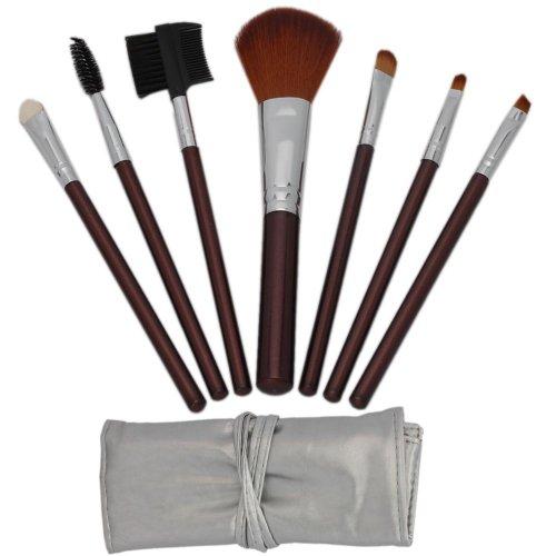 Maquillage 7pcs cosmétiques professionnels Brown Maquillage Pinceau Pinceaux Kit avec Silver Bag Case