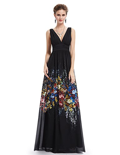 Ever-Pretty Womens Long Chiffon Floral Printed Bridesmaid Dress 16 US (Printed Chiffon Gown)