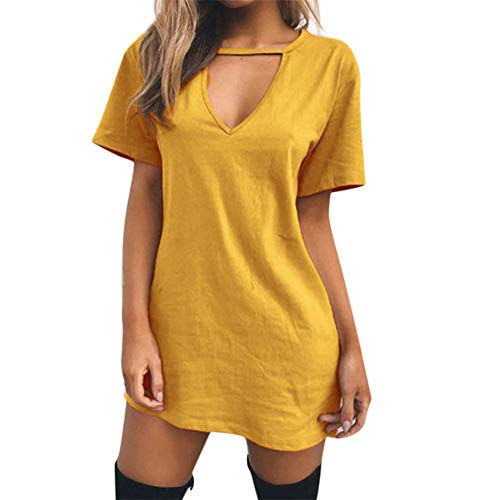 (Women's Summer Fall Short/Long Sleeve Lace Hem T-Shirt Loose Dress with Pockets Yellow)