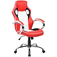 United Seating High-back PU Computer Swivel Gaming Office Chair with Chrome Base, Crimson Red, Jet Black and Frost White
