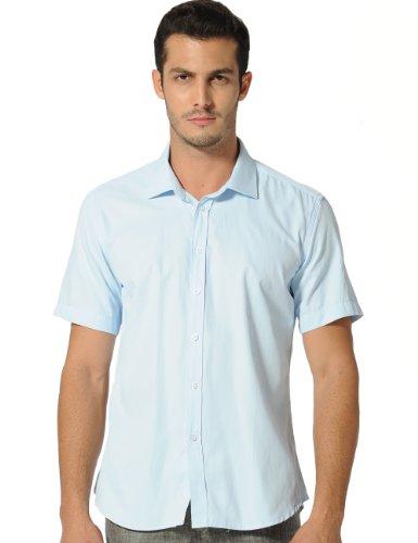 SSLR Men's Wrinkle Free Solid Button Down Short Sleeve Dress Shirt (Medium, Light Blue (Acrylic Shirt)