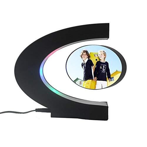 YUGUO Photo Frame C Shape Electronic Magnetic Levitation Floating Globe Photo Frame Blue Light Birthday Gift Xmas Decor Wedding Gift