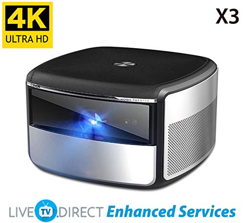 4K Projector, LiveTV.Direct Enhanced JmGO X3 Home Cinema Projector Native 4K UHD Android 3D Smart TV Projector Built-in Hi-Fi Stereo Speaker (Chinese Version)