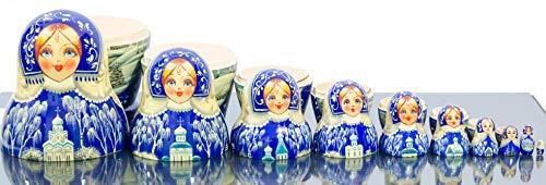Russian Nesting Doll - Kirov - VJATKA - Hand Painted in Russia - Big Size - Wooden Decoration Gift Doll - Matryoshka Babushka (Style E, 8.25``(10 Dolls in 1)) by craftsfromrussia (Image #6)