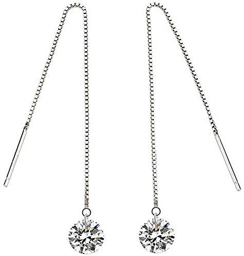 linear earrings sterling silver earrings_cubic zirconia crystal earrings_thread earrings wedding jewelry bride bridal earrings gifts_pierced earrings_nickel free hypoallergenic earrings