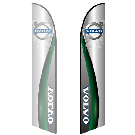 - Style 2 Volvo 10ft Feather Banner Single-Sided, Poles and Spike Base Included
