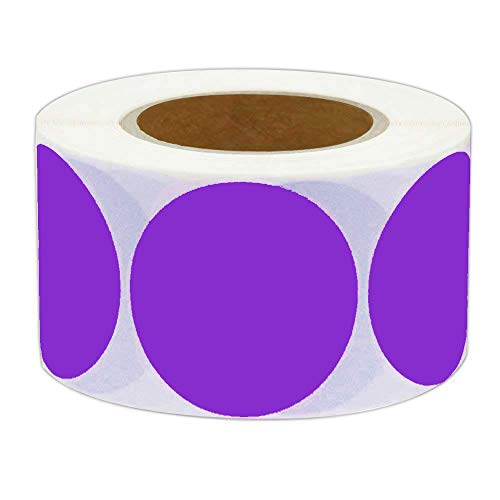 Storage Color Code - 2 Inch Round Color-Code Dot Labels | Fluorescent Color Coding Colored Labels | 500 Permanent Adhesive Colored Circle Stickers Per Roll for Moving/Storage/Organizing/Color Coding/Arts (Purple)