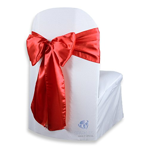 Sparkles Make It Special 100 pcs Satin Chair Cover Bow Sash - Red - Wedding Party Banquet Reception - 28 Colors Available ()