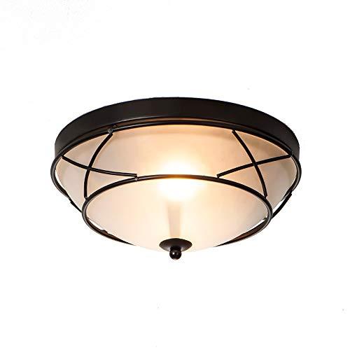 (Wtape Vintage 2 Light Glass Black Finish Semi-Flush Mount Ceiling Light, Ceiling Fixture for Bedroom, Hallway, Kitchen,)