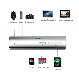 UNITEK Aluminum USB 3.1 Gen 1 Type C 3-Port Data Hub with SD/Micro SD/TF Card Reader for New MacBook, ChromeBook, HP Pavilion X2. (Equipped with practical two cable type C to micro B, A to micro B)