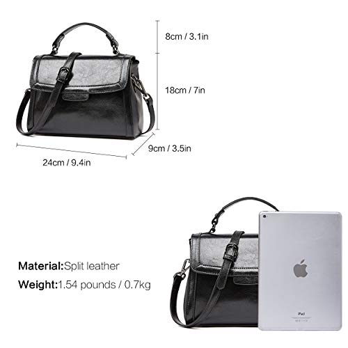 for Leather BOYATU Crossbody Handbags Black Vintage Bag Ladies Top Women Handle xEAwFdPA