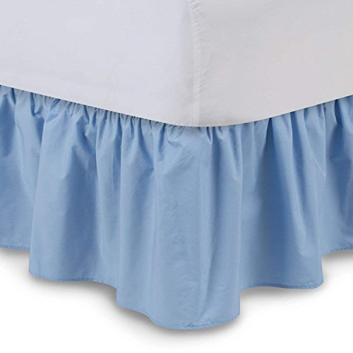 Ruffled Bedskirts - Cotton Bedskirt (King, Light Blue) 18 Inch Bed Skirt with Platform, Wrinkle and Fade Resistant