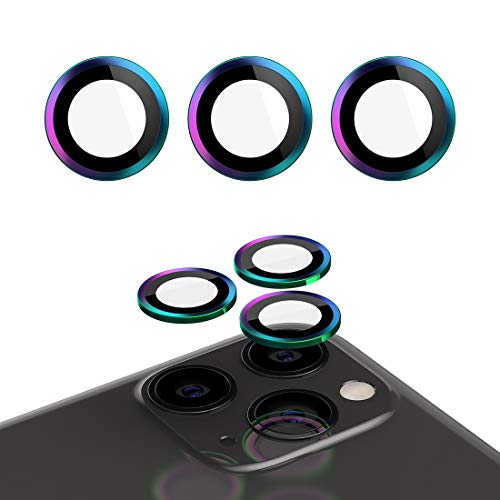 Ecesia [6 PCS for iPhone 11 Pro/iPhone 11 Pro Max/iPhone 11 Camera Lens Protector, Metal Lens Cover Tempered Glass Ring Film Coverage Ultra Thin High Responsivity Anti-Scratch Case Friendly (Color)