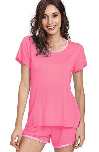 Pink Pajamas Cozy - NEIWAI Women's Pajamas Set Cozy Bamboo Short Sleeve Sleepwear Pj Set Raspberry Pink 3X