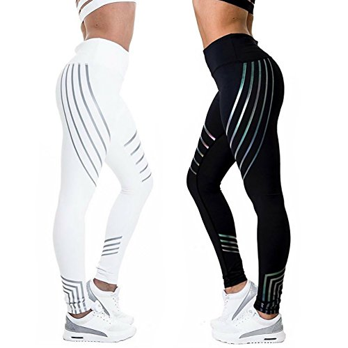 CFR Waist Leggings Casual Workout Active Sport Yoga Pants Ankle-Length Nine Pants Stretch Skinny Tights Black,L UPS Post by CFR