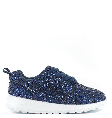 SHUMAD  Glitter Trainers, Mädchen Sneaker Kinder Größe 28 EU-34 EU Navy